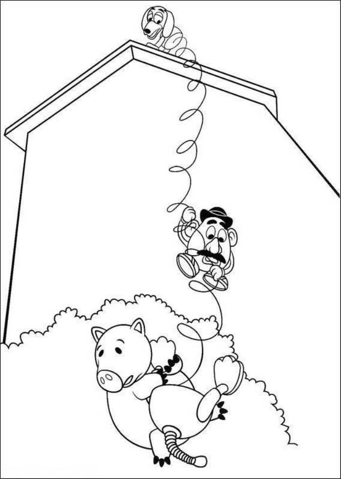 Hamm Mr Potato Head And Slinky Dog Toy Story 3 Coloring Pages