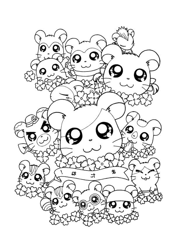 Hamtaro And Friends Coloring Pages