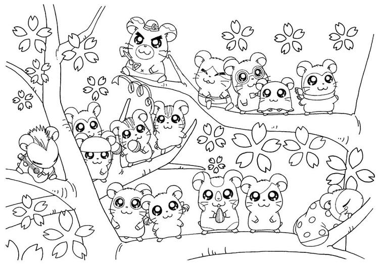 Hamtaro And Friends Live On Sakura Tree Coloring Pages