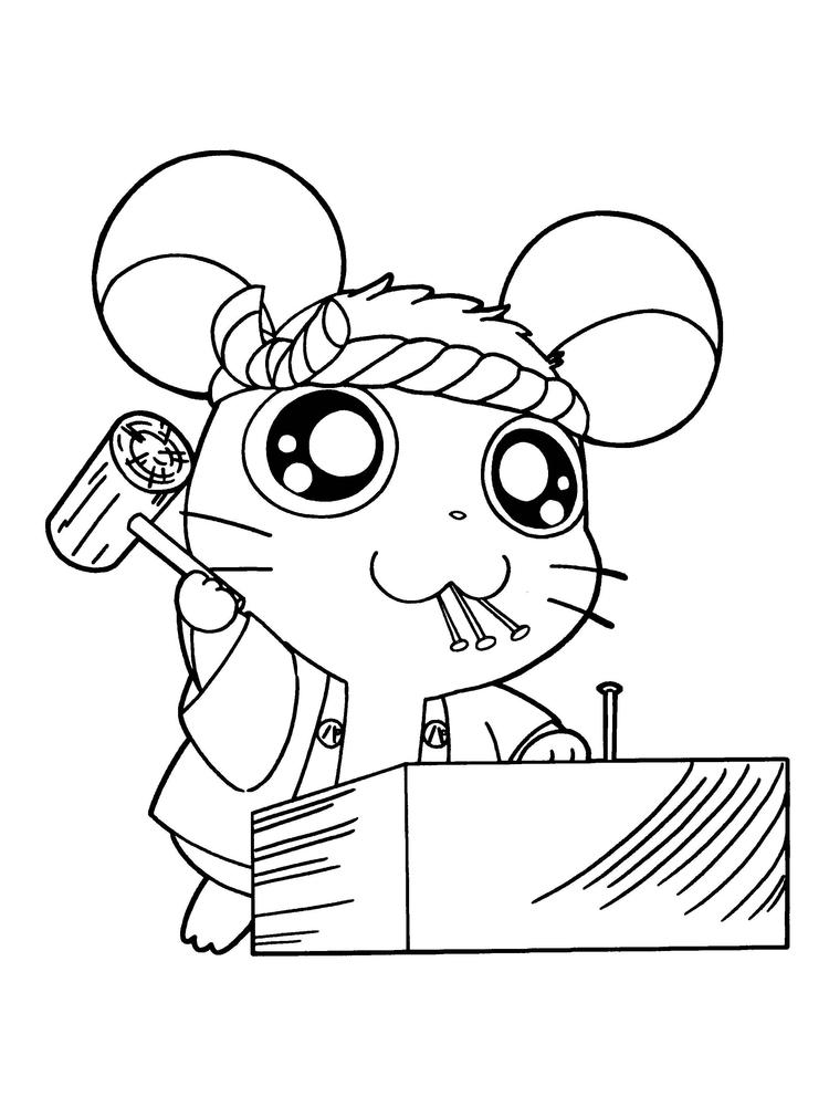 Hamtaro Coloring Pages Make A House