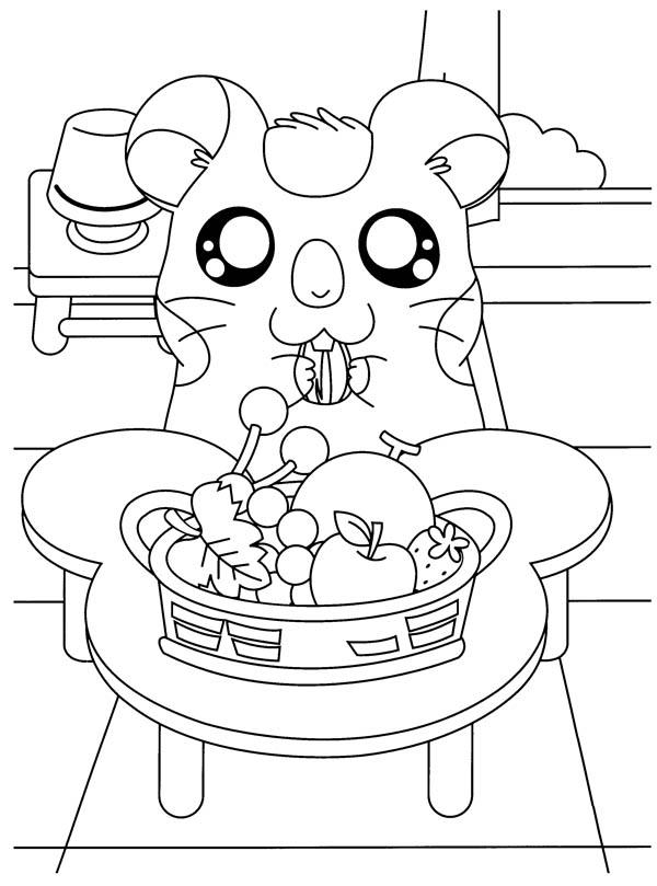 Hamtaro Eat A Lot Of Fruitd Coloring Pages