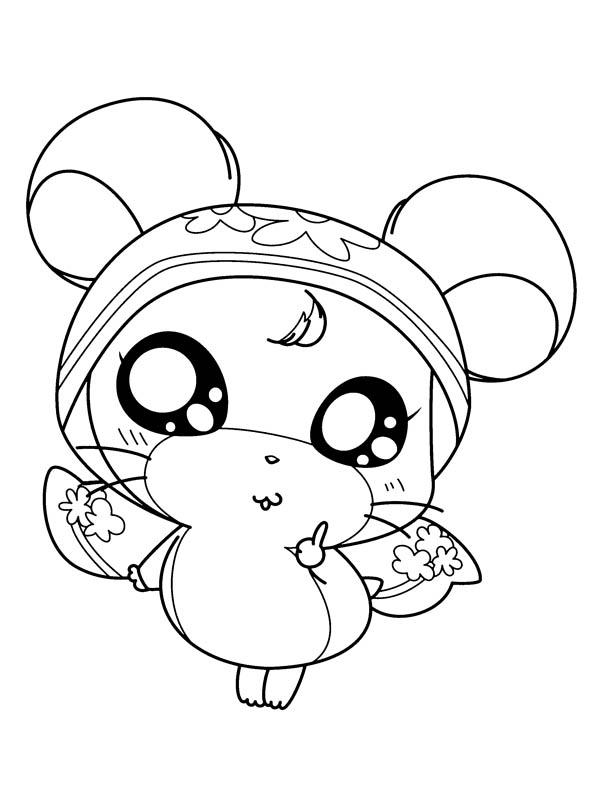 Hamtaro Girlfriend Wearing Dress Coloring Pages