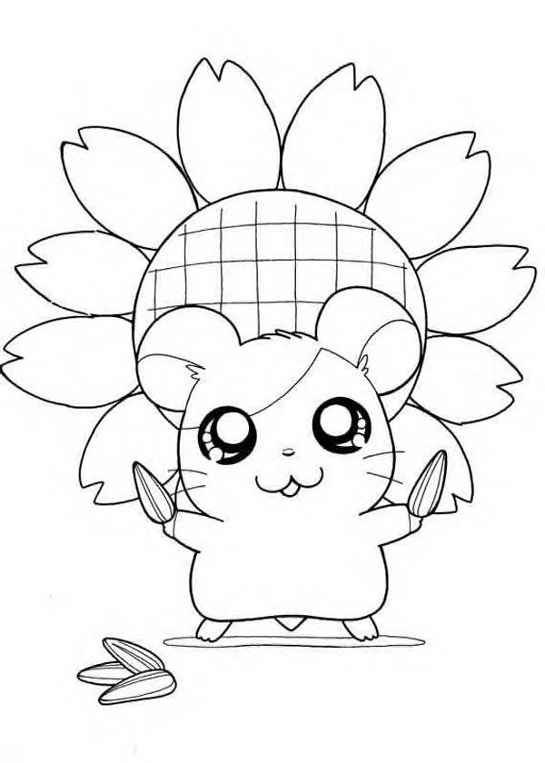 Hamtaro Holding Sunflower Seed Coloring Pages