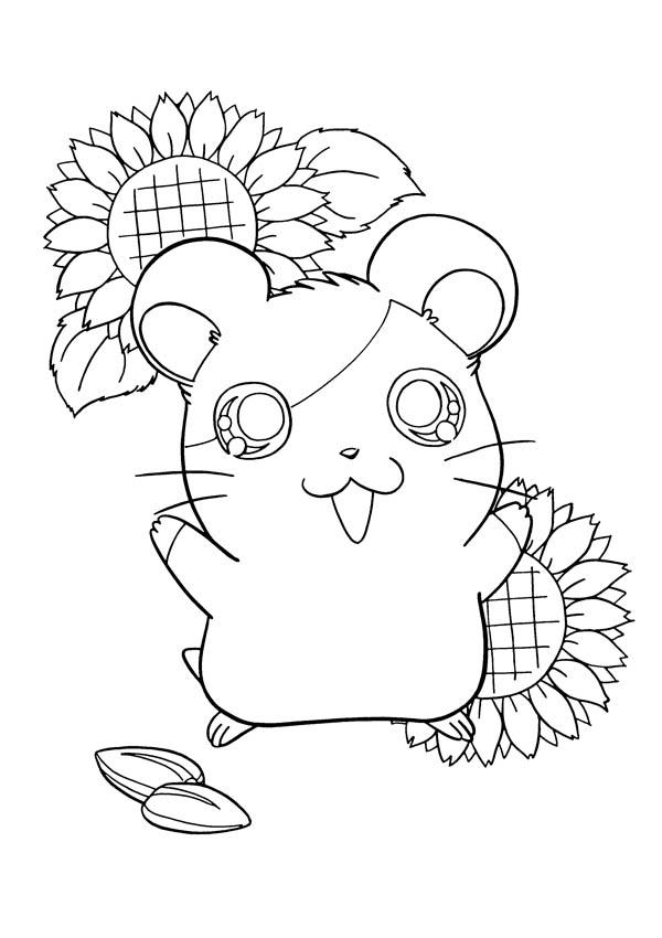 Hamtaro Is Very Happy Coloring Pages