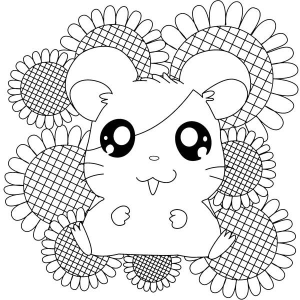 Hamtaro Sitting On Sunflower Coloring Pages