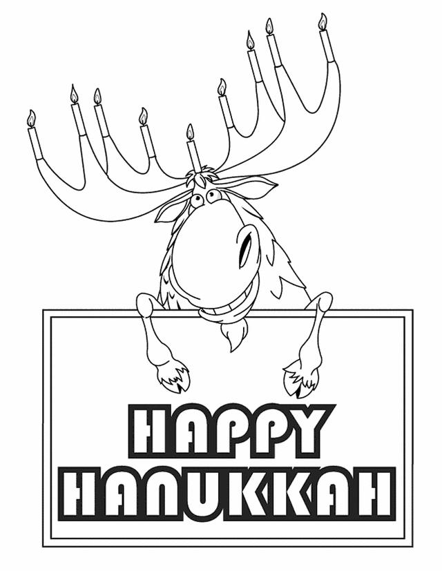 Hanukkah Coloring Pages Reindeer