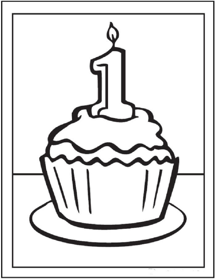Happy 1st Birthday Cupcakes Coloring Pages