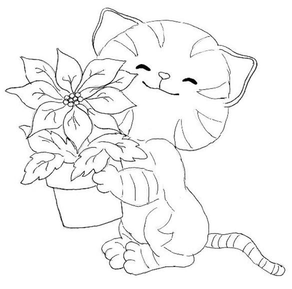 Happy Baby Kitty Coloring Pages 1
