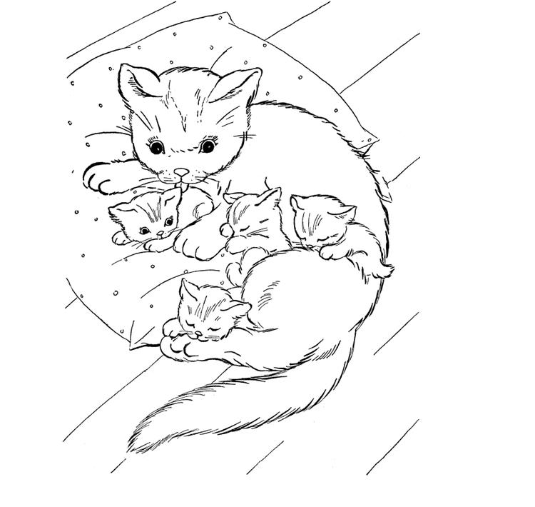 Happy Baby Kitty Coloring Pages