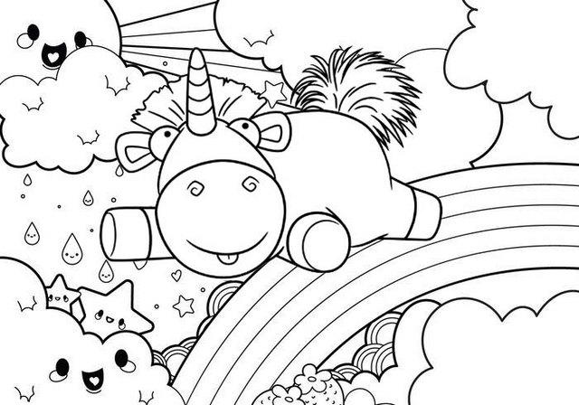 Happy Baby Unicorn With Rainbow Scene Coloring Page For Kids
