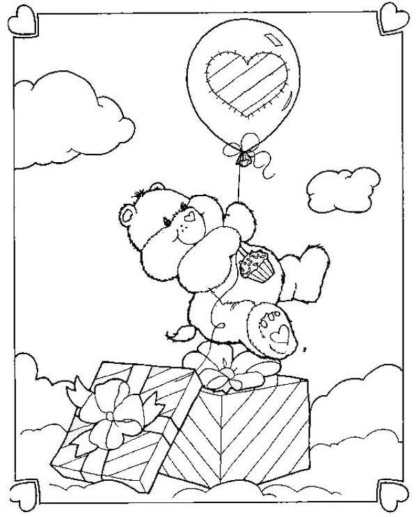 Happy Birthday Bear Coloring Page Care Bear