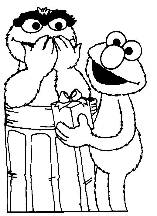 Happy Birthday Coloring Pages Elmo And Friends