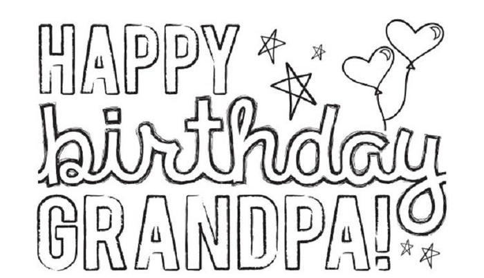 Happy Birthday Coloring Pages For Grandpa