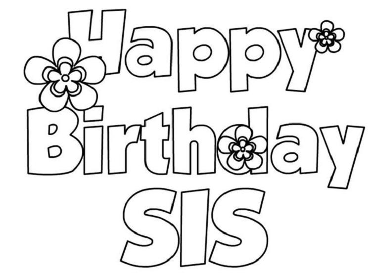 Happy Birthday Coloring Pages For Sister