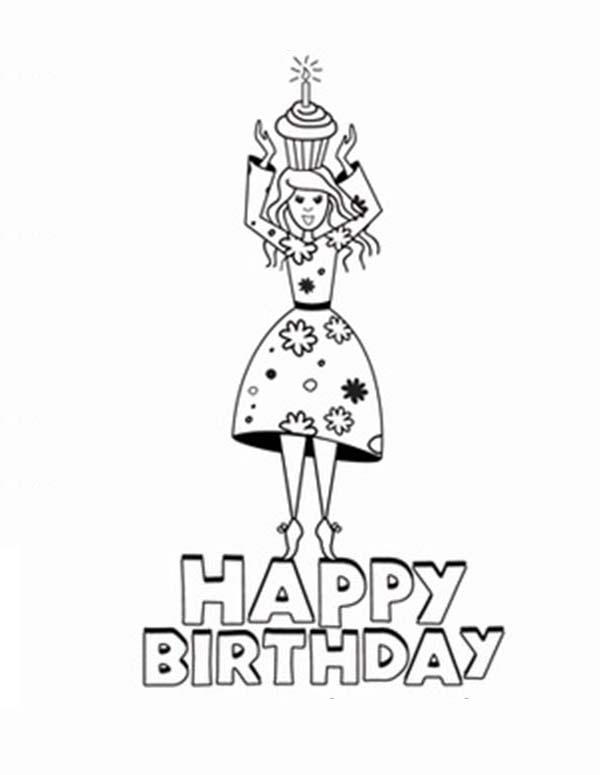 Happy Birthday In Princesses Birthday Coloring Pages