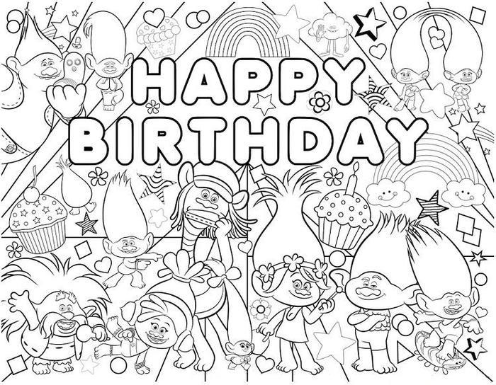 Happy Birthday Trolls Coloring Pages