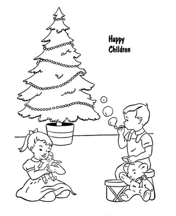 Happy Children With Presents Christmas Coloring Pages Printable1