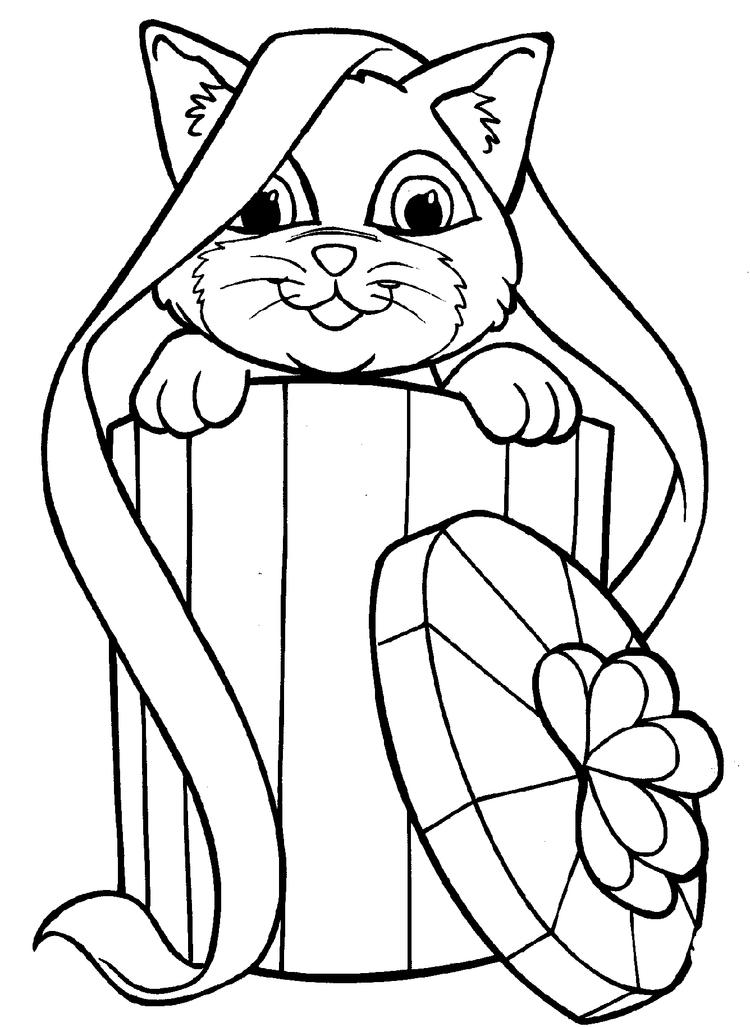 Happy Christmas Kitty Coloring Pages 1