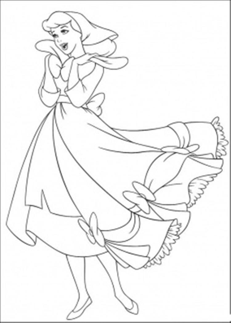 Happy Cinderella Coloring Pages For Kids