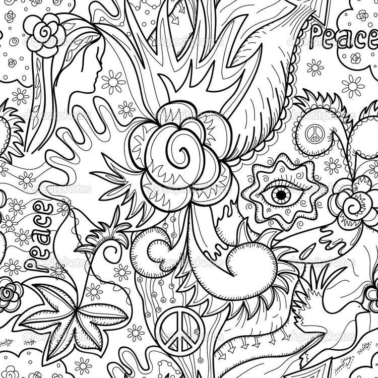 Happy Coloring Pages For Adults Abstract Flowers 1