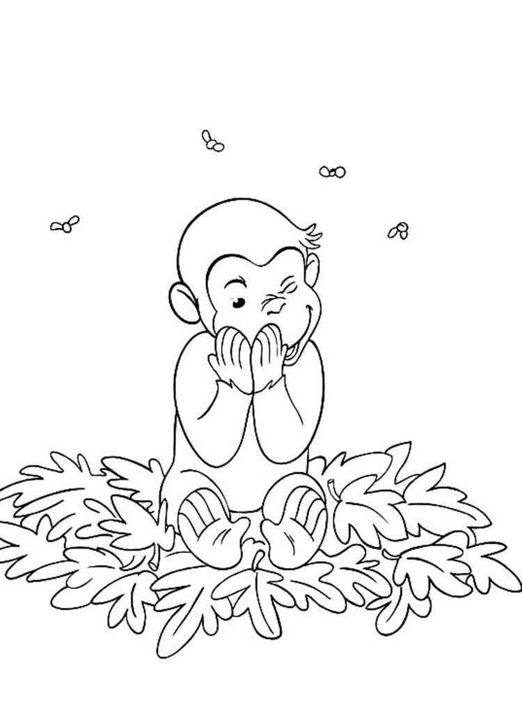 Happy Curious George Coloring Pages