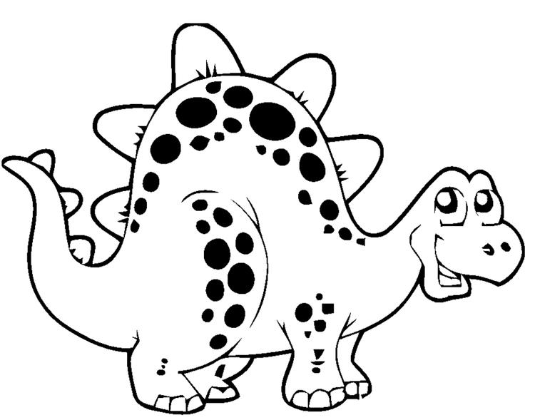Happy Cute Dinosaurs Coloring Pages