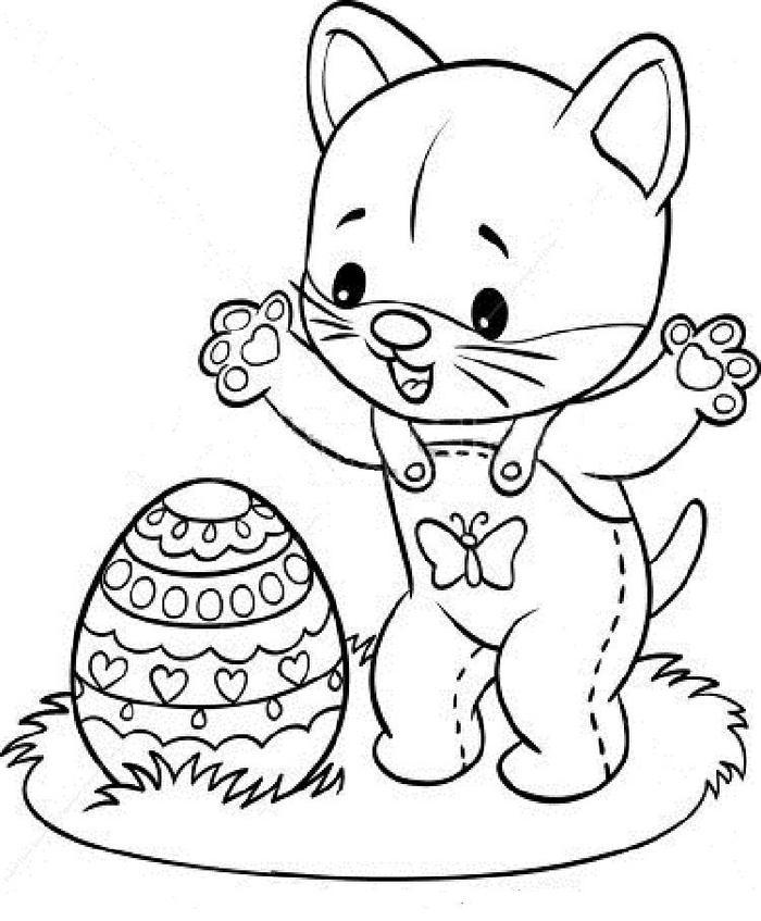 Happy Easter Kittens Coloring Pages