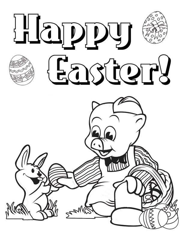 Happy Easter Piggly Wiggly Give Egg To A Rabbit Coloring Pages