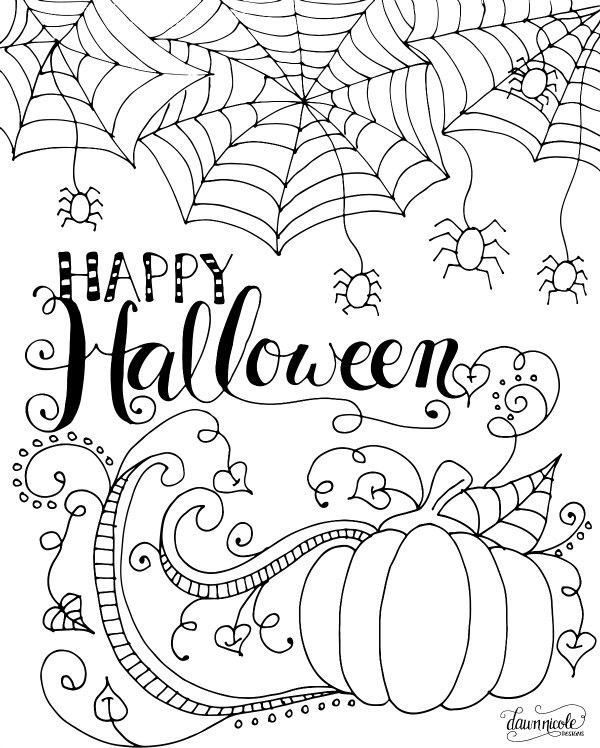 Happy Halloween Coloring Pages For Adults