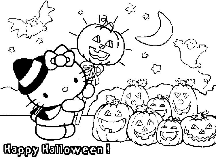 Happy Halloween Coloring Pages Hello Kitty