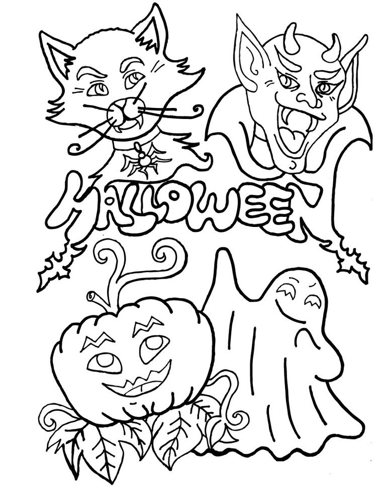 Happy Halloween Coloring Pages Printable Free
