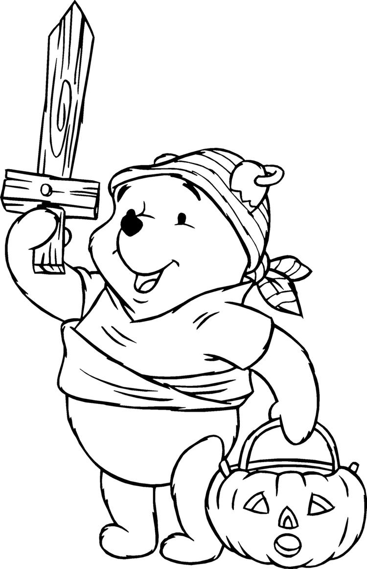 Happy Halloween Coloring Pages Winnie The Pooh