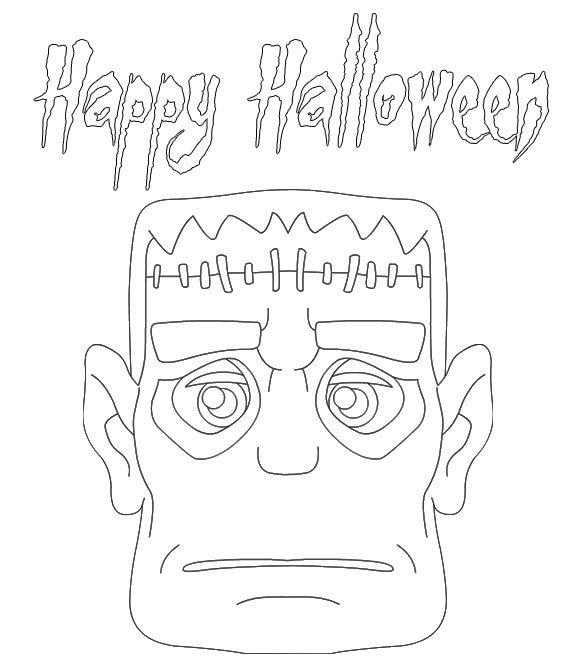 Happy Halloween Frankenstein Coloring Pages Printable Free