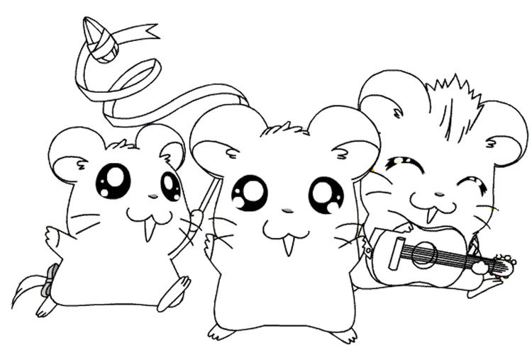 Happy Hamtaro Coloring Pages