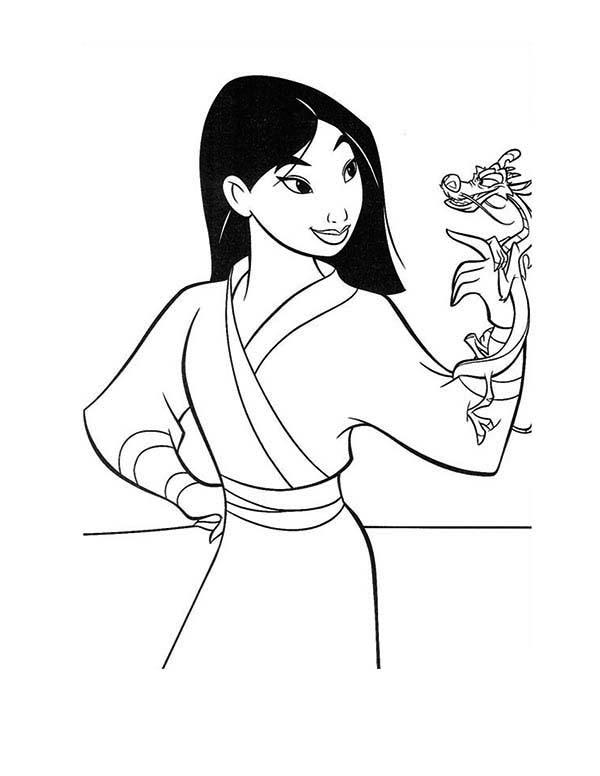 Happy Mulan And Mushu Coloring Pages