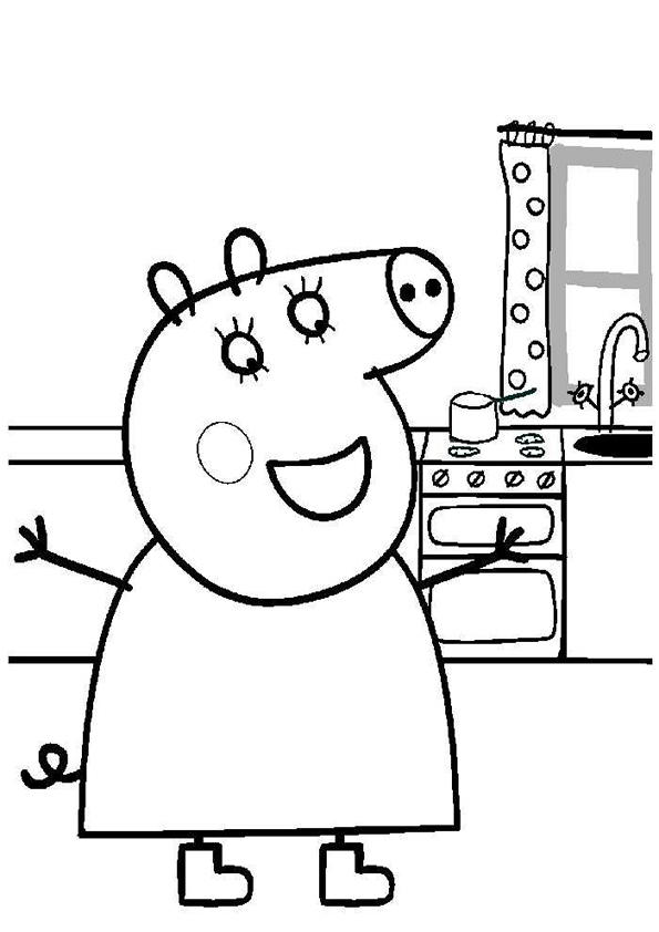 Happy Peppa Pig Christmas Coloring Pages 1