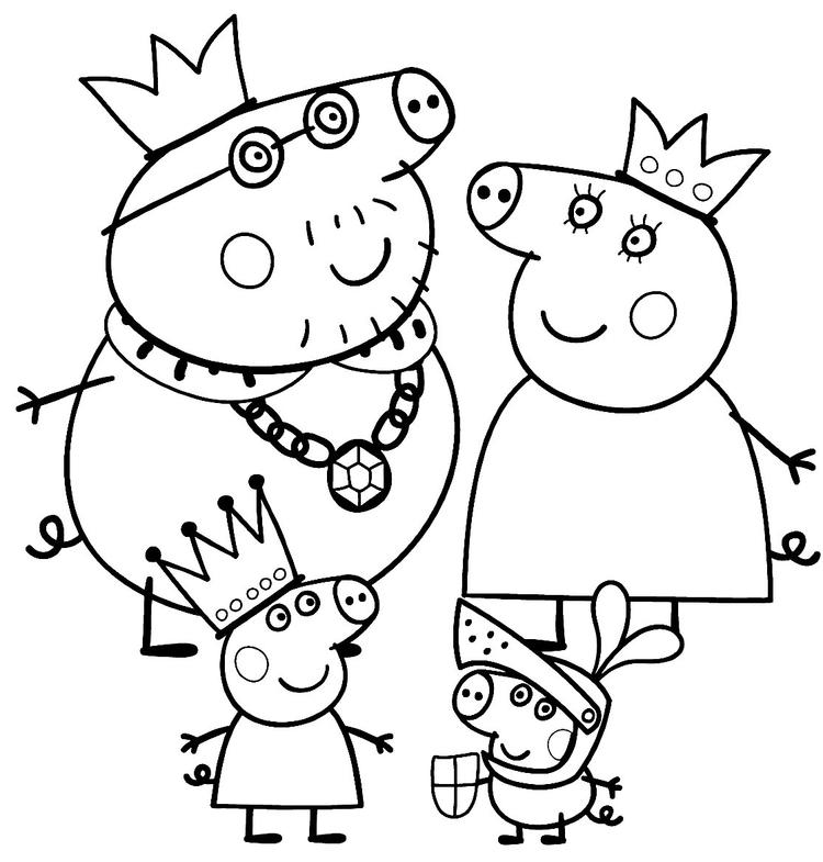 Happy Peppa Pig Christmas Coloring Pages