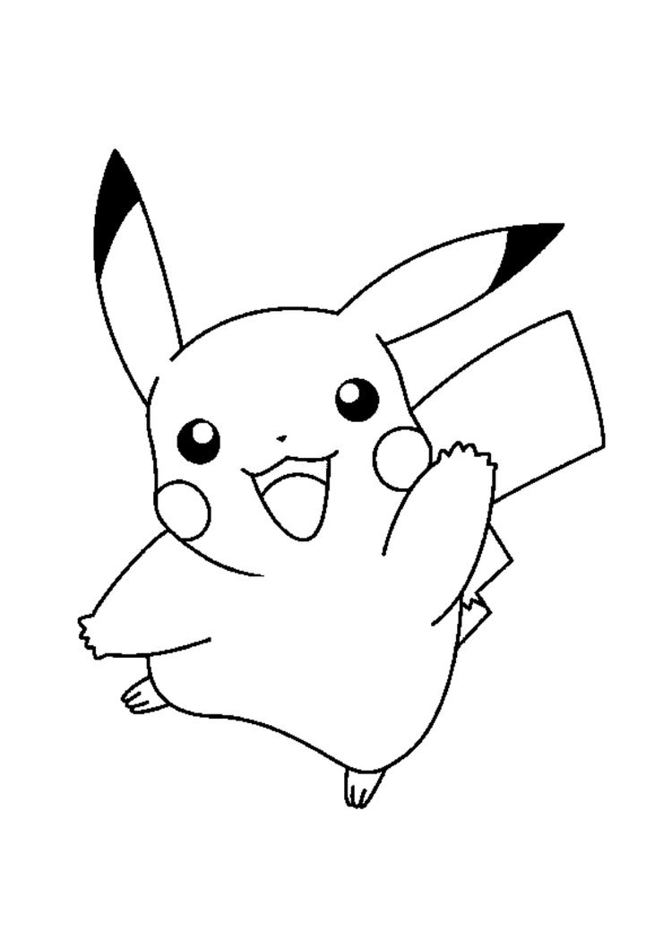 Happy Pikachu Coloring Pages