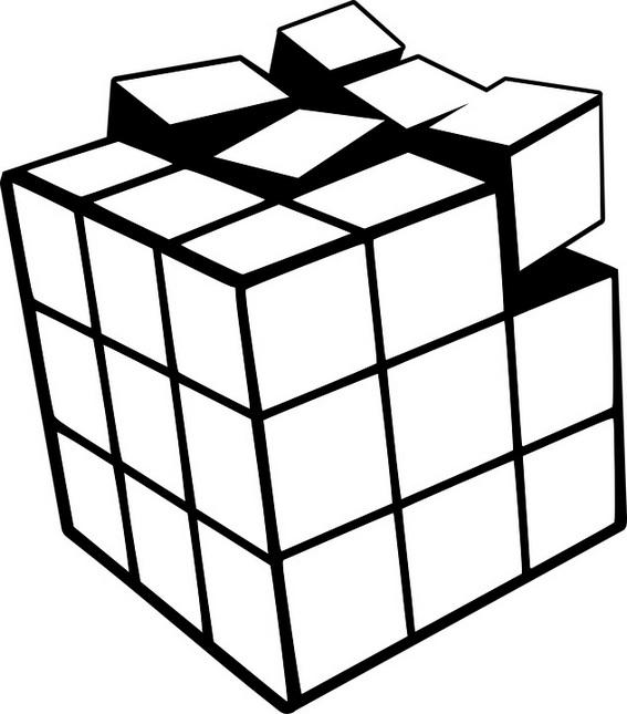 Happy Rubiks Cube Coloring Page For Children