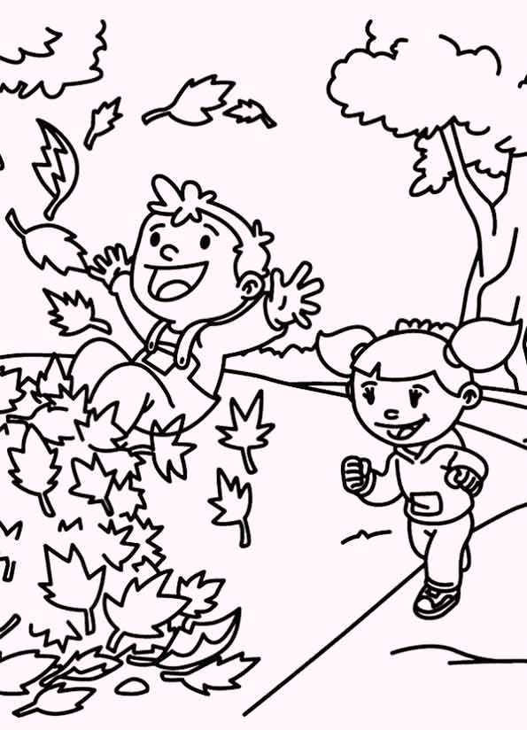 Happy Season Fall Coloring Pages For Kids