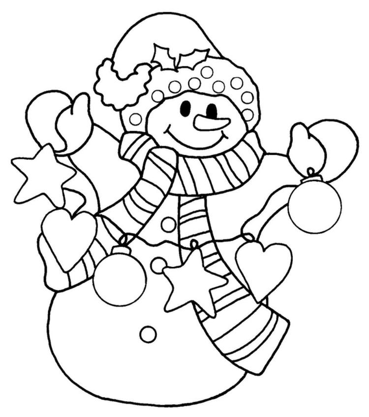 Happy Snowman Christmas Coloring Pages