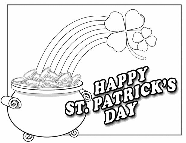 Happy St Patricks Day Coloring Page Printable