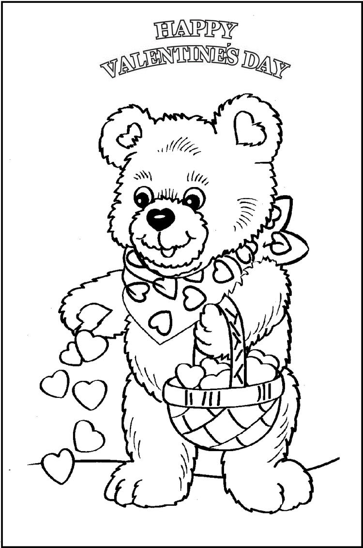 Happy Valentine Day With Bear Doll Gift Coloring Picture