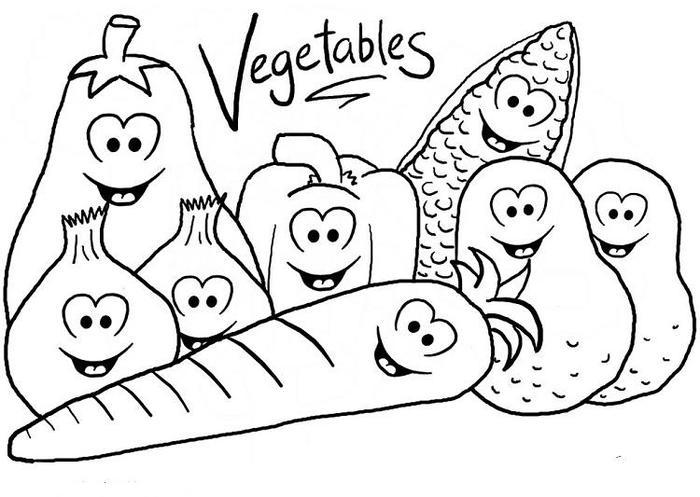 Happy Vegetables Coloring Pages