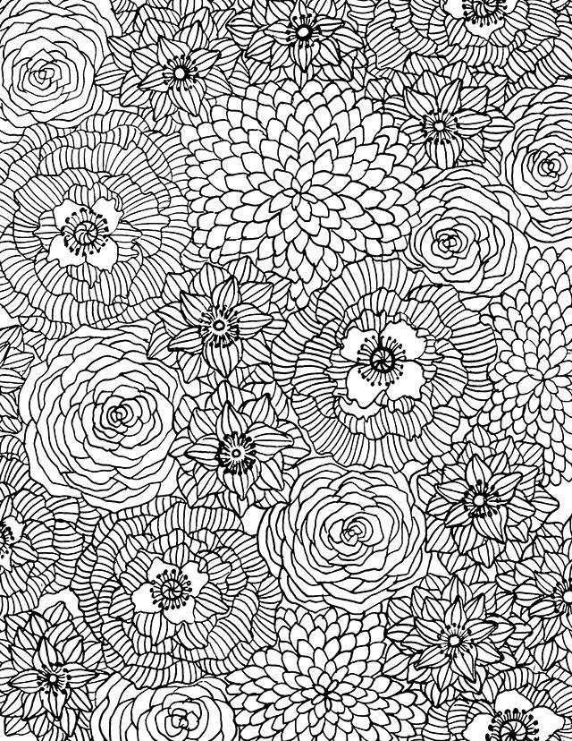 Hard Floral Coloring Pages For Adults