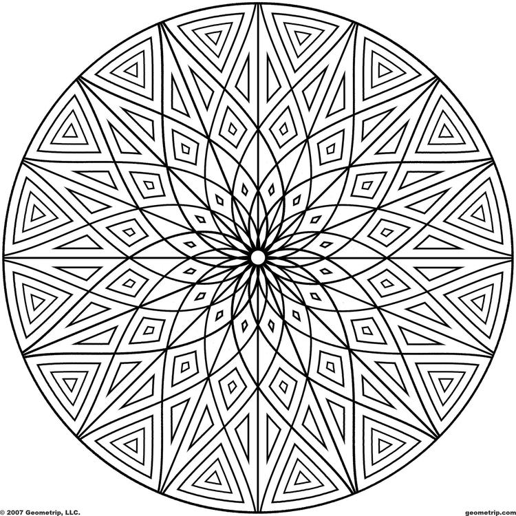 Hard Geometric Pattern Coloring Pages For Adults