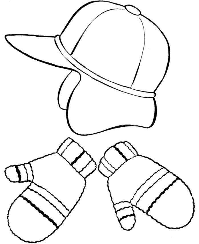 Hat And Mittens Winter Clothes Coloring Page