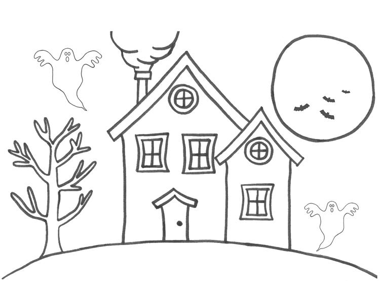 Haunted House Coloring Pages For Kids