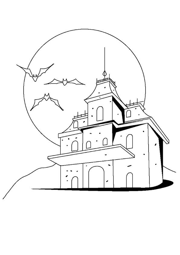 Haunted House Coloring Pages Mansion