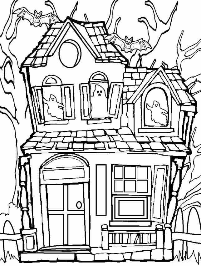 Haunted House Coloring Pages With Ghosts And Bats